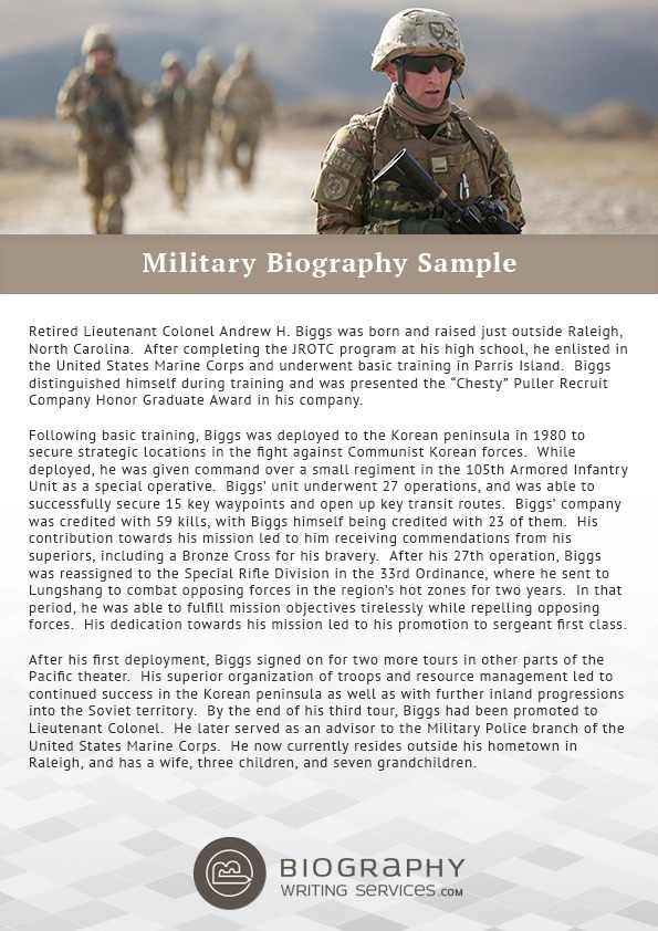 Military Biography Sample Best Biography Samp