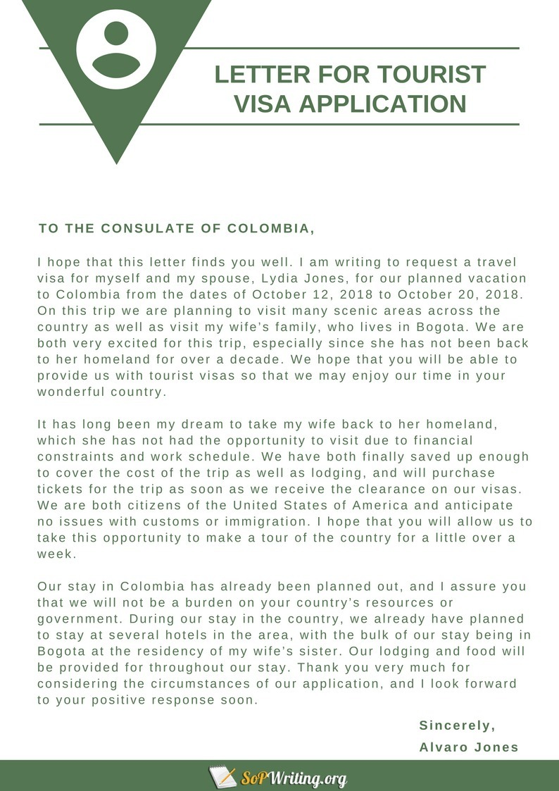 Sample Cover Letter for Tourist Visa Applicatio