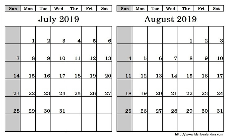 Blank Two Month July August 2019 Calendar