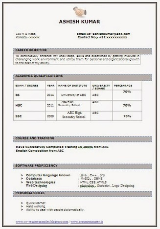 Best IT Fresher Resume Sample Career Scoop