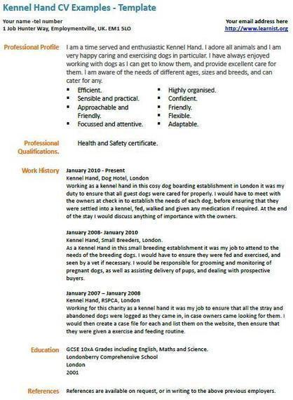 Kennel Assistant CV Example UK Job Vacancies