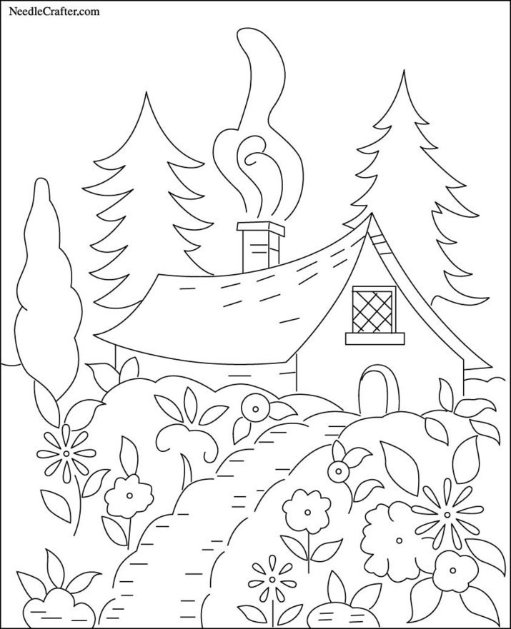 Free Hand Embroidery Pattern: Cottage in the Wo...
