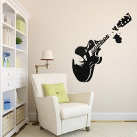 Guitar Wall Sticker Guitarist Music Removable Decal Home ...