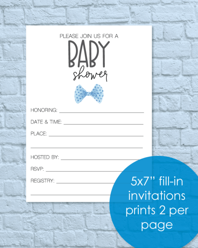 Printable Baby Shower Invitations Blue Bow Tie Little Man Theme