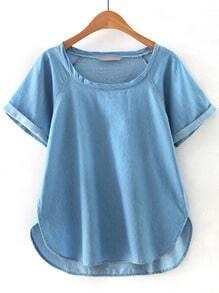 Blue Short Sleeve Dip Hem Denim Blouse