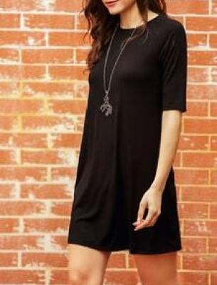 Black Half Sleeve Casual Dress