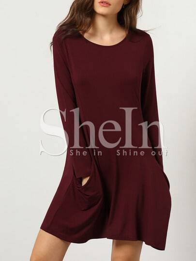 Burgundy Long Sleeve Pockets Dress pictures