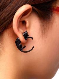 Black Punk Style Cat Single Earring -SheIn(Sheinside)