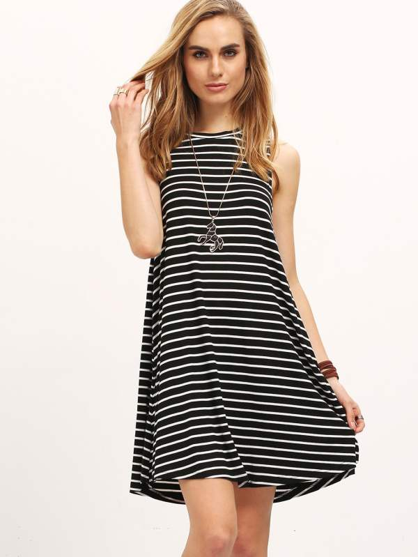 Contrast Striped Sleeveless Tee Dress -shein Sheinside