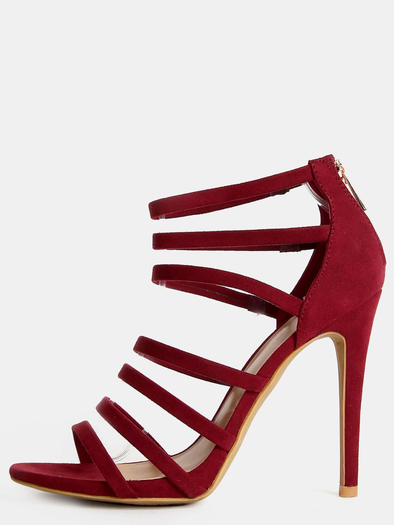 high heel shoe chair value city desk in kitchen strappy open toe stiletto heels burgundy shein sheinside