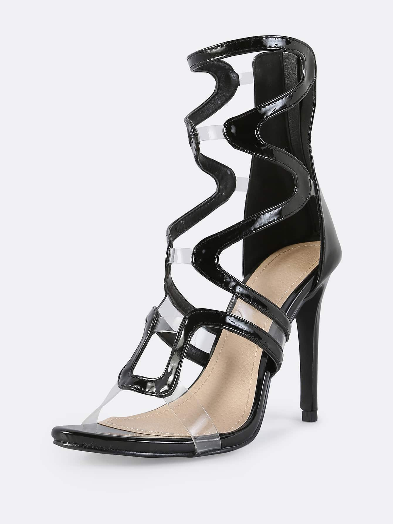 high heel shoe chair value city stool wavy cut patent stiletto black shein sheinside