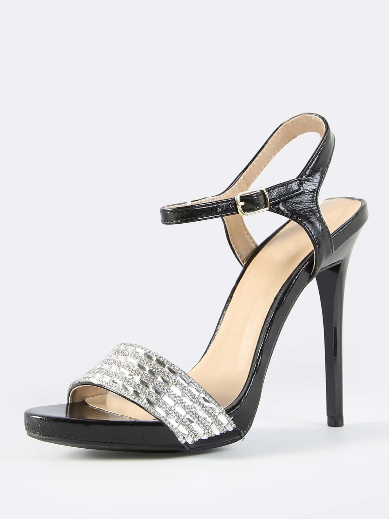 high heel shoe chair value city windsor kits faux leather encrusted crystal heels black shein sheinside