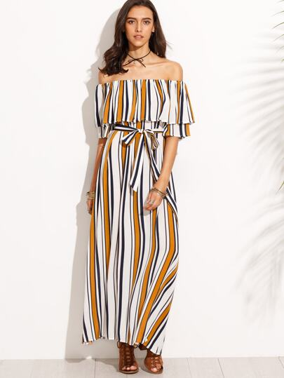 Vertical Striped Off The Shoulder Ruffle Self Tie Dress