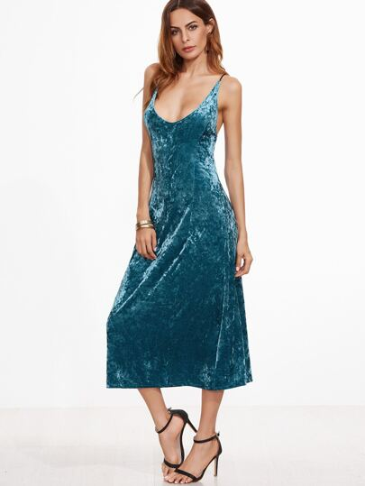 Peacock Blue Backless Velvet Slip Dress