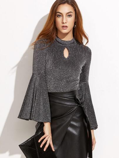 Mock Neck Bell Sleeve Keyhole Metallic Top