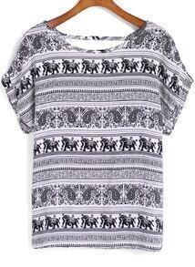 Blusa manga corta tribal elefante -blanco y negro