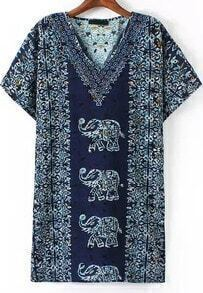 Vestido cuello V vintage elefante -marino