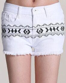 White Tribal Embroidered Fringe Shorts