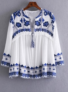 Blue White Knotted Embroidered Crop Outerwear