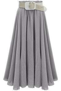 Grey Belt Pleated Long Skirt