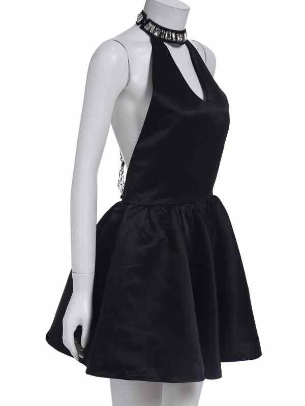 Black Halter Bead Eiffel Tower Dress -shein Sheinside