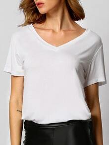 White V Neck Loose T-shirt