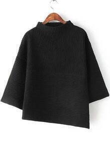 Black Stand Collar Asymmetrical Knit Sweater