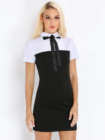 Black White Short Sleeve Color Block Dress pictures