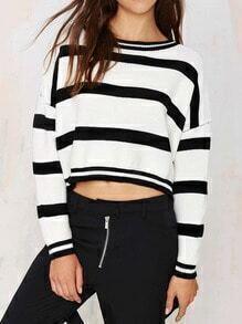 Jersey cuello redondo rayas crop -negro blanco