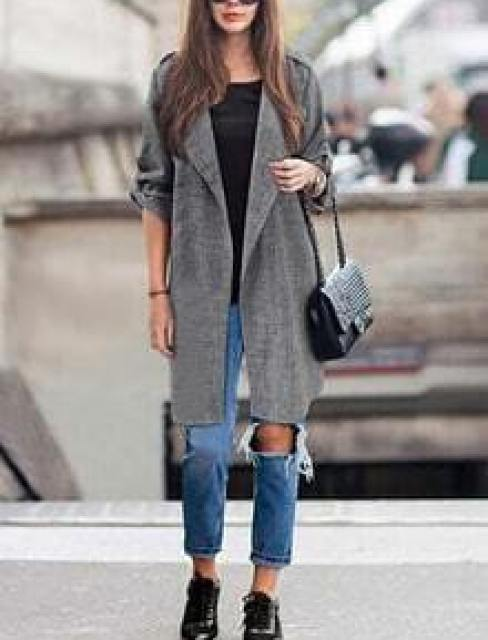 Grey Lapel Long Sleeve Loose Coat