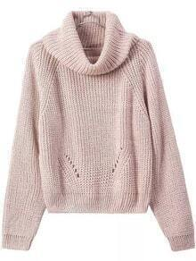 Turtleneck Crop Khaki Sweater