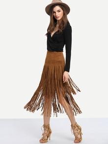 Falda flecos recta -marrón