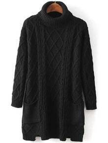 Black High Neck Diamond Patterned Pockets Sweater