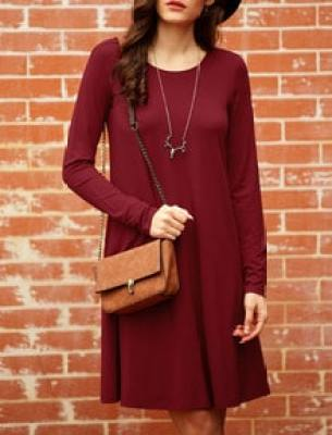 Wine Red Oxblood Long Sleeve Casual Babydoll Dress