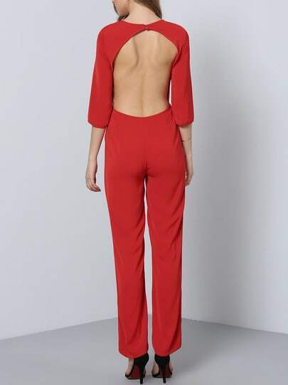 Red Long Sleeve Backless Jumpsuit pictures