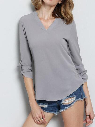 Grey V Neck Dip Hem Blouse pictures