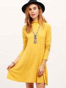 Vestido manga larga casual -amarillo