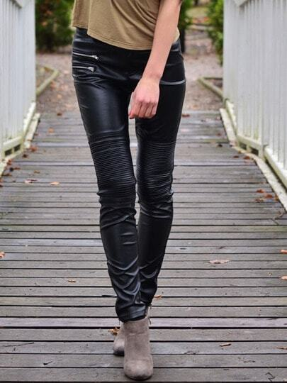 Black PU Leather Slim Pant pictures