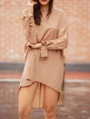 Camel Long Sleeve Loose Dress