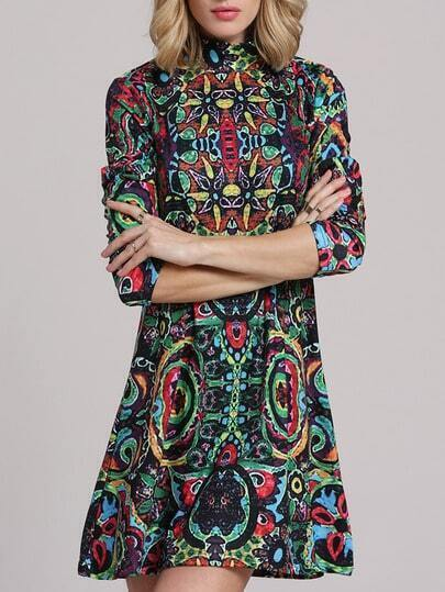 Multicolor Long Sleeve Vintage Print Dress pictures