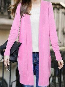 Cárdigan manga larga bolsillos -rosa
