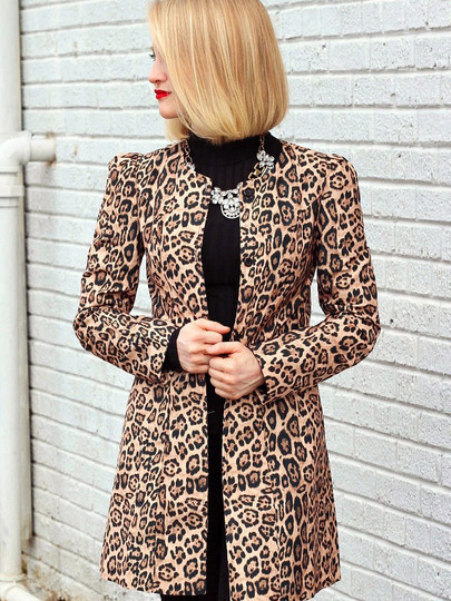 Yellow Long Sleeve Leopard Print Coat pictures