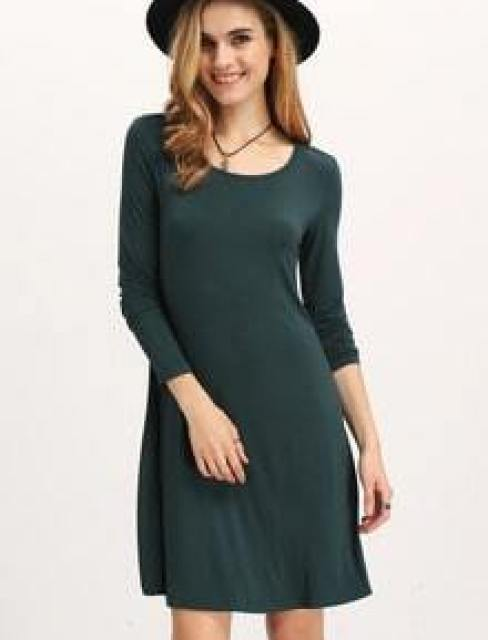 Dark Green Long Sleeve Casual Dress