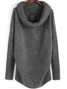 Grey Boat Neck Long Sleeve Loose Sweater