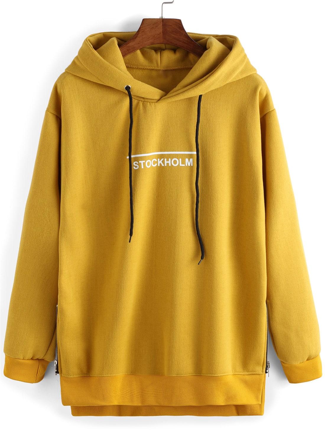 Sweatshirt  capuche dcontract imprim lettres jauneFrench SheInSheinside