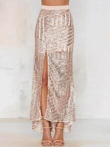 Falda cintura alta lentejuelas con abertura -champán