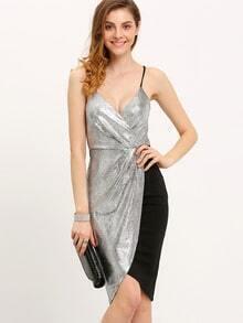 Vestido tirante fino color combinado lentejuelas -plata