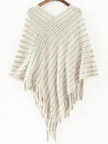 White V Neck Striped Patterned Tassel Cape