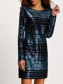 Vestido manga larga lentejuelas entallado -azul