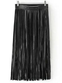 Black Tassel PU Skirt